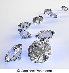 3D, concepto, composición, diamantes