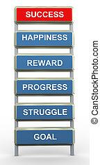 3d, concepto, de, éxito