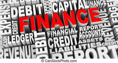 3d, concepto, de, finanzas, palabra, etiquetas