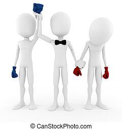 3d, concepto, empresa / negocio, competición, hombre