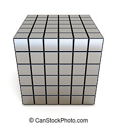 3d conceptual cube on a white background.