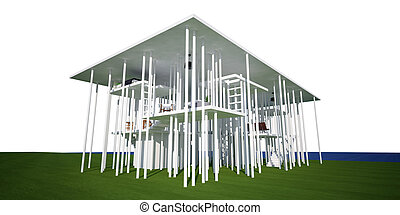 3d conceptual house, on white background