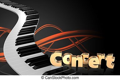 3d concert sign blank - 3d illustration of piano keys over...