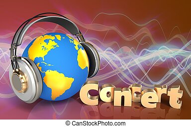 3d concert sign concert sign - 3d illustration of world in...