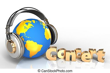 3d concert sign world in headphones - 3d illustration of...