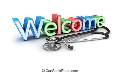 3d, concetto, isolato, benvenuto, medicina