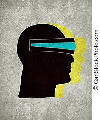 3d, concetto, visione, illustrazione, digitale