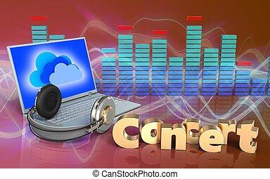 3d, concierto, señal, computador portatil, y, auriculares