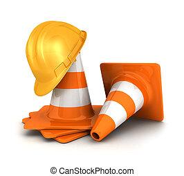 3d, cones tráfego, um, capacete segurança