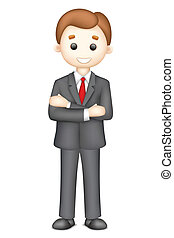 illustration of confident 3d business man in vector standining with folded hand