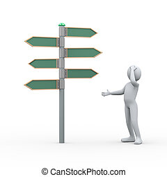 3d confuse person in front of roadsign - 3d illustration of...