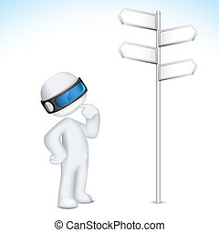 3d Confused Man in Vector