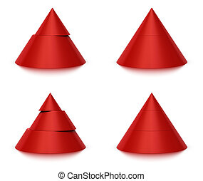 3d conical shape sliced, red pyramid 2 (two) or 3 (three) levels, white background and reflection