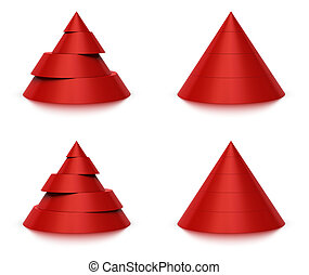 3d conical shape sliced, red pyramid 4 (four) or 5 (five) levels, white background and reflection