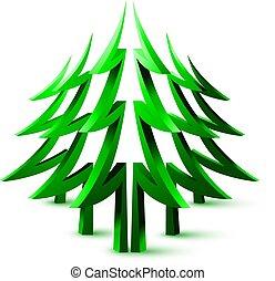 3d coniferous forest. - Abstract 3d logo coniferous forest.