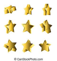 3d, conjunto, mirar, estrellas