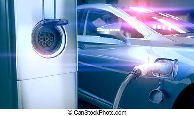 3d, connecter, voiture, 4k, électrique, station., chargeur, animation