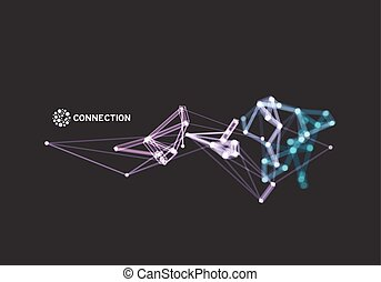 3D Connection Structure. Futuristic Technology Style.