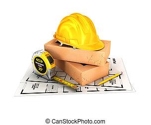 3d, construção, conceito