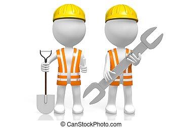 3d, construção, equipe
