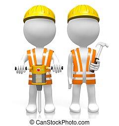 3d, construção, equipe, conceito