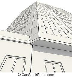 3d, construction, de, bâtiment bureau