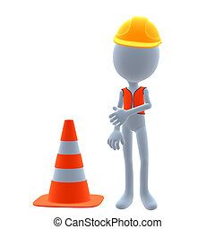 3D Construction Guy - 3D construction guy on a white...