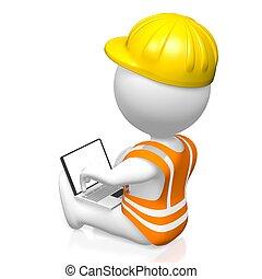 3D construction, laptop concept