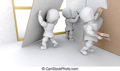 3D construction team building a house isolated