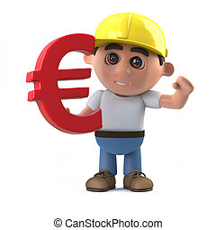 3d Construction worker as a Euro currency symbol