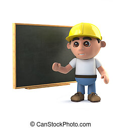 3d Construction worker at the blackboard
