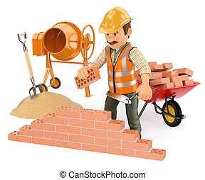 3d working people. Construction worker building a brick wall. Isolated white background.