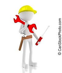 3d construction worker, carries a wrench, screwdriver and a...
