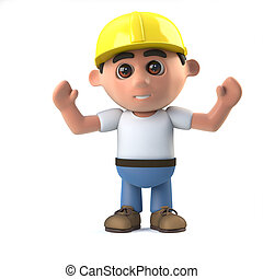 3d Construction worker cheers jubilantly - 3d render of a...