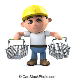 3d Construction worker goes shopping - 3d render of a...