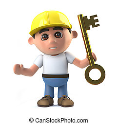 3d Construction worker hands you the key - 3d render of a...