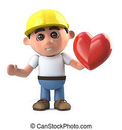 3d Construction worker has a heart - 3d render of a...