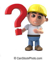 3d Construction worker has a question - 3d render of a...