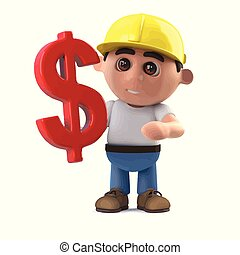 3d Construction worker has a US Dollar symbol