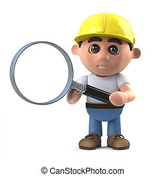 3d Construction worker magnifies the issue - 3d render of a...