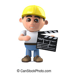 3d Construction worker makes a movie - 3d render of a...