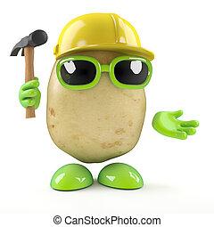 3d Construction worker potato - 3d render of a potato...