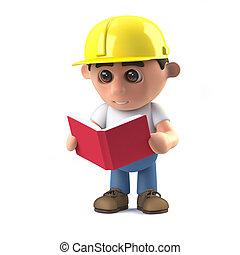 3d Construction worker reading a book - 3d render of a...