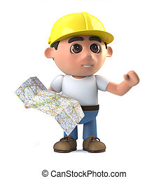 3d Construction worker reading a map - 3d render of a...