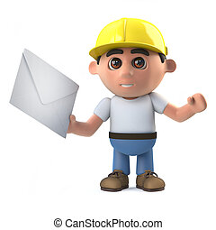 3d Construction worker receives mail - 3d render of a...
