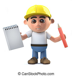 3d Construction worker takes notes - 3d render of a...