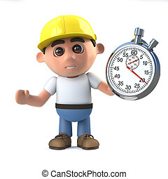 3d Construction worker times the event - 3d render of a...