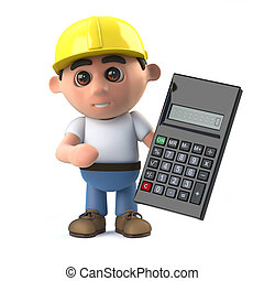 3d Construction worker uses a calculator