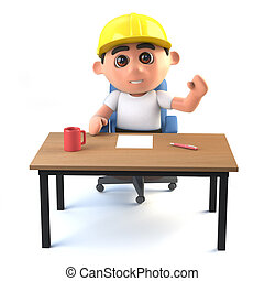 3d Construction worker waves from his desk - 3d render of a...