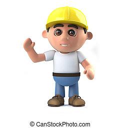 3d Construction worker waves hello - 3d render of a...